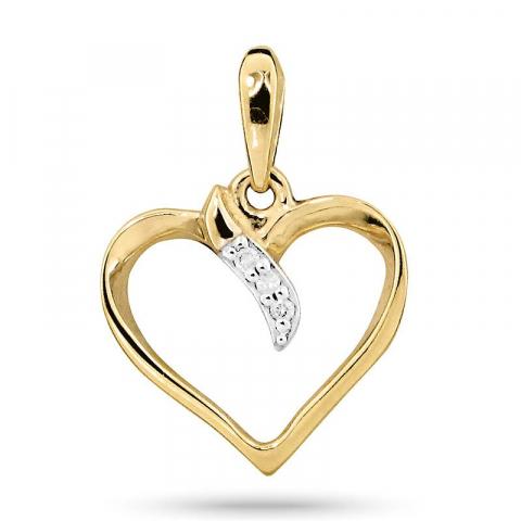 Hjerte vedhæng i 9 karat guld