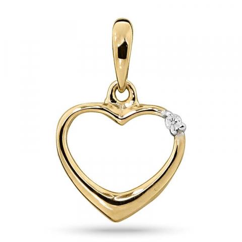 Smukt diamant hjertevedhæng i 14 karat guld