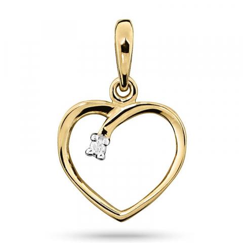 Fint diamant hjertevedhæng i 14 karat guld
