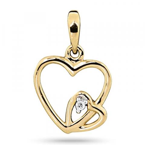 Sødt diamant hjertevedhæng i 14 karat guld