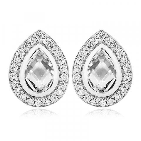 Klassiske dråbe øreringe i sølv