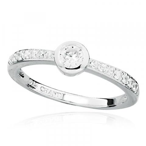 Yndig rund hvid zirkon ring i rhodineret sølv