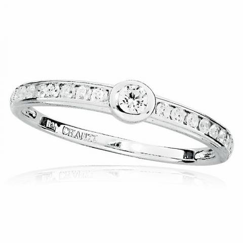 Ringe: rund hvid zirkon ring i rhodineret sølv