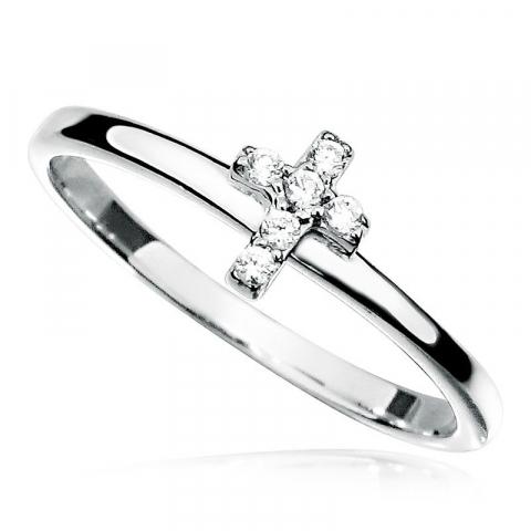 Lille kors hvid zirkon ring i rhodineret sølv