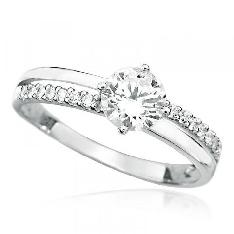 Moderne rund hvid zirkon ring i rhodineret sølv