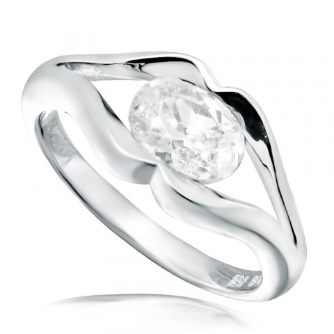 Moderne oval hvid zirkon ring i rhodineret sølv