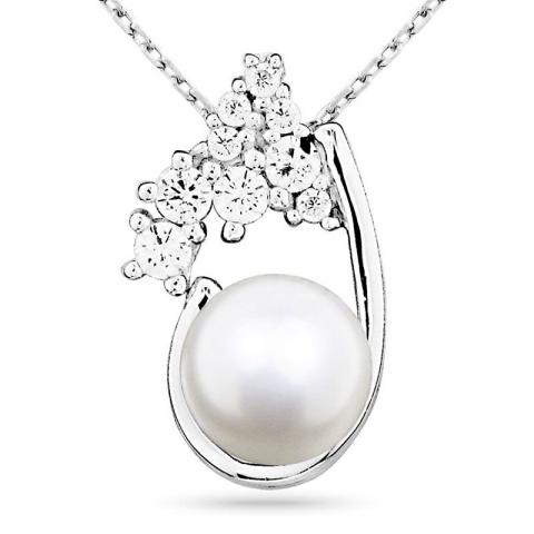 Sødt perle vedhæng i sølv