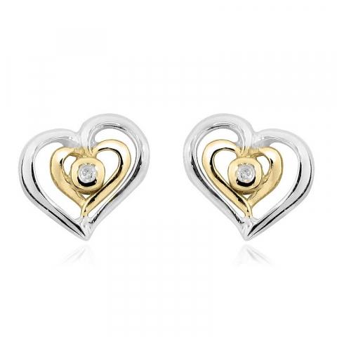 Elegante hjerte ørestikker i forgyldt sølv med diamanter