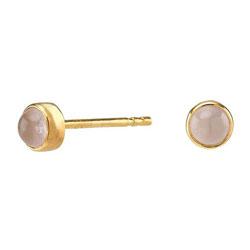 Små Nordahl Andersen øreringe i forgyldt sølv rosa kvarts