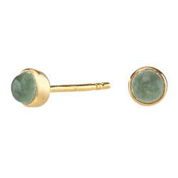 Små Nordahl Andersen grønne øreringe i forgyldt sølv grønne aventuriner