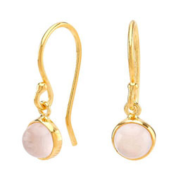 Smukke nordahl andersen kvarts øreringe i forgyldt sølv rosa kvarts