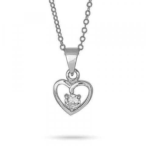 Nordahl andersen hjerte halskæde med vedhæng i rhodineret sølv hvid zirkon