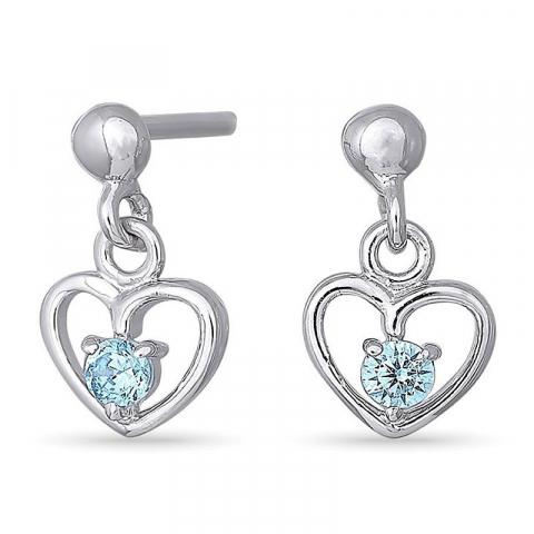 Nordahl andersen hjerte øreringe i rhodineret sølv blå zirkoner