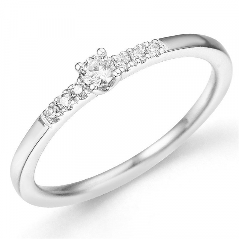 rund diamantring i 14 karat hvidguld 0,08 ct 0,06 ct