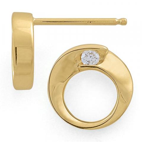 Runde diamantøreringe i 14 karat guld med diamanter