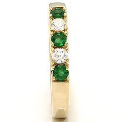 kraftig smaragd alliancering i 14 karat guld 2 x 0,10 ct
