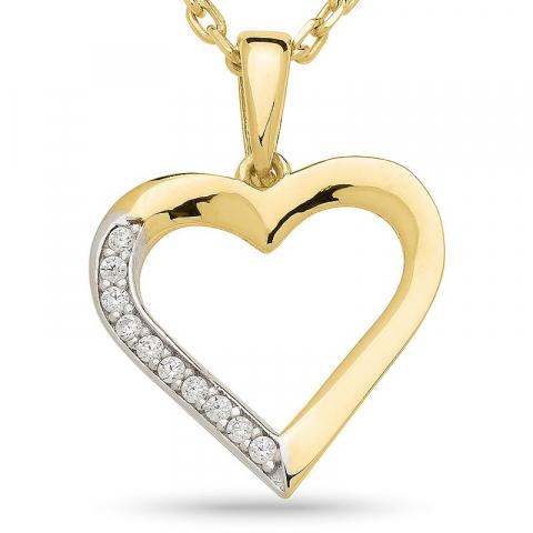 Sød hjerte halskæde i forgyldt sølv med hjertevedhæng i 9 karat guld