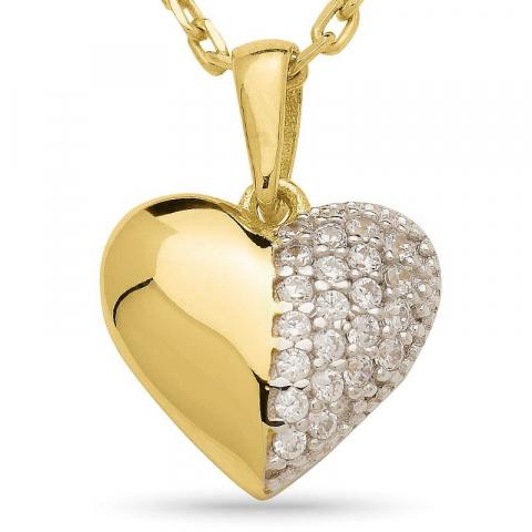 Hjerte halskæde i forgyldt sølv med hjertevedhæng i 9 karat guld