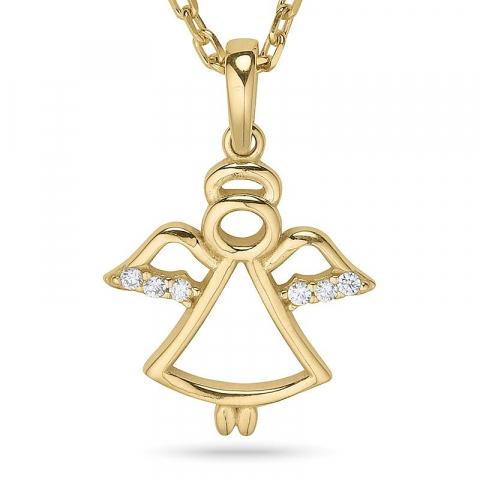Engel halskæde i forgyldt sølv med vedhæng i 9 karat guld