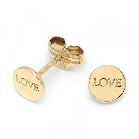 Små Love ørestikker i 9 karat guld