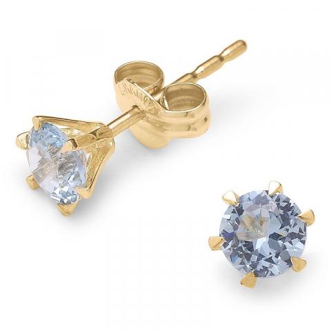 Elegante runde solitaireørestikker i 9 karat guld med zirkoner