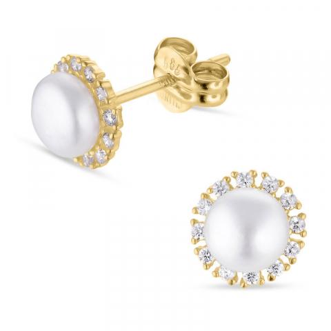 6,5 mm runde perle ørestikker i 14 karat guld med zirkon