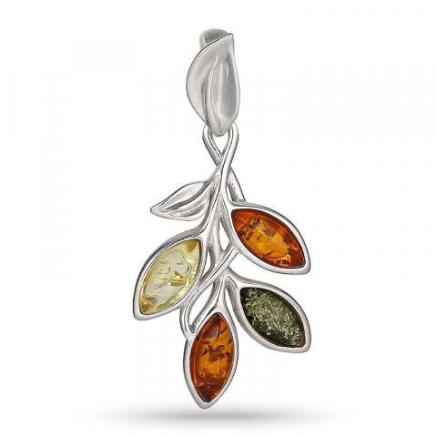 Flot blad multifarvet rav vedhæng i sølv