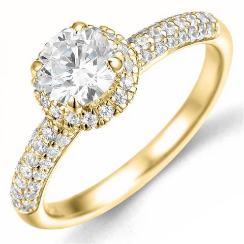 Bestillingsvare - diamantring i 14 karat guld 0,75 ct 0,46 ct