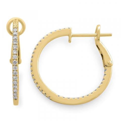 16 mm diamant creoler i 14 karat guld med diamanter