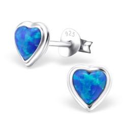 Hjerte opal ørestikker i sølv