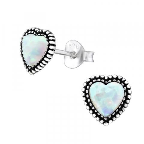 Hjerte opal øreringe i oxideret sterlingsølv