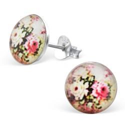 Runde blomster øreringe i sølv