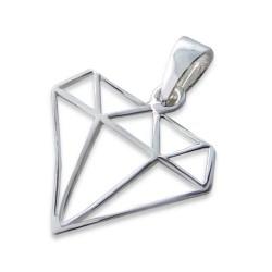 Diamantformet vedhæng i sølv