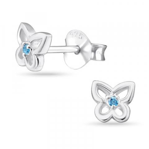 Sommerfugle blå zirkon øreringe i sølv