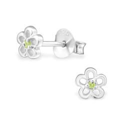 Blomster grønne ørestikker i sølv