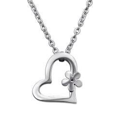 Hjerte vedhæng med halskæde i Rustfrit stål