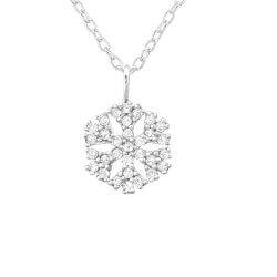 Snefnug hvid zirkon vedhæng med halskæde i sølv
