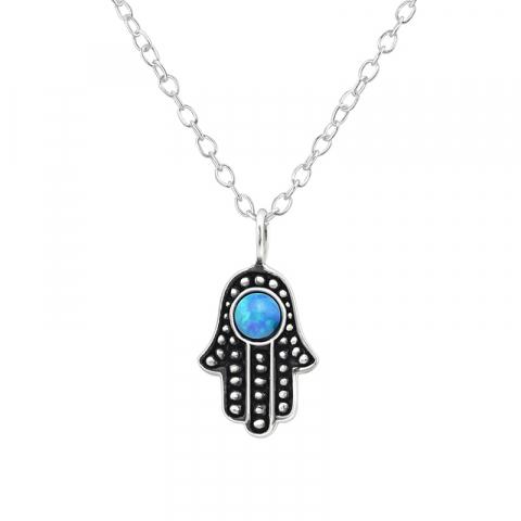 Hamsas hånd blå opal vedhæng med halskæde i sølv