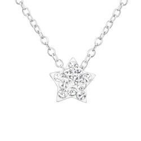 Stjerne hvid krystal vedhæng med halskæde i sølv