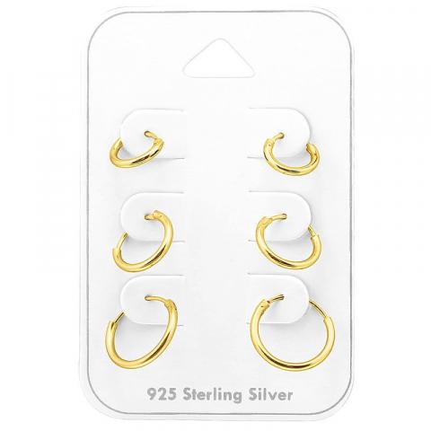 8 x 10 x 12 mm Creoler øreringe i forgyldt sølv