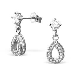Dråbe øreringe i rhodineret sølv