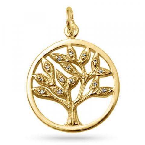 livets træ zirkon vedhæng i forgyldt sølv