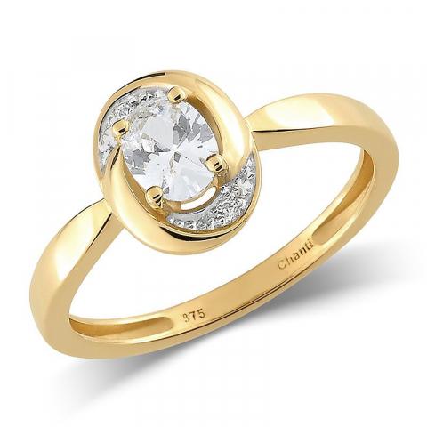 Pæn oval hvid zirkon ring i 9 karat guld med rhodium
