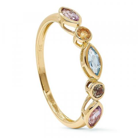 Elegant multifarvet guld ring i 9 karat guld