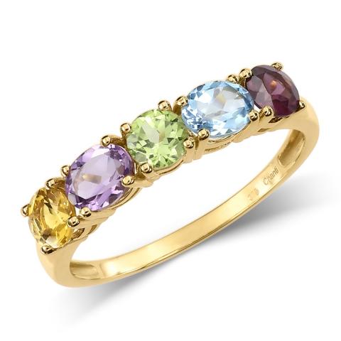 Guldringe: multifarvet ring i 8 karat guld