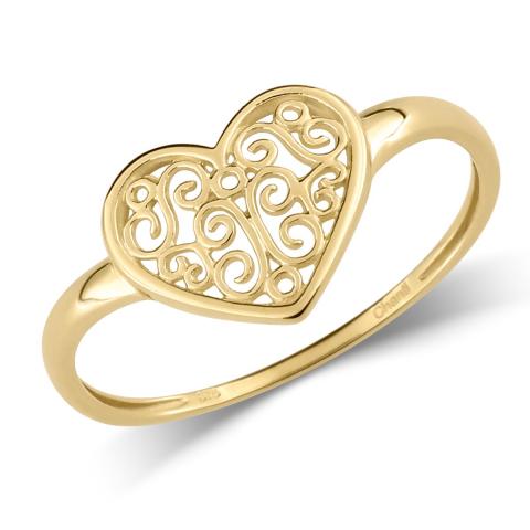 Sød hjerte ring i 9 karat guld