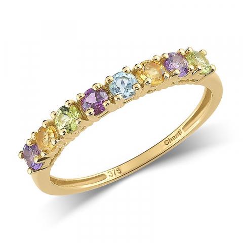 Smal multifarvet ring i 8 karat guld