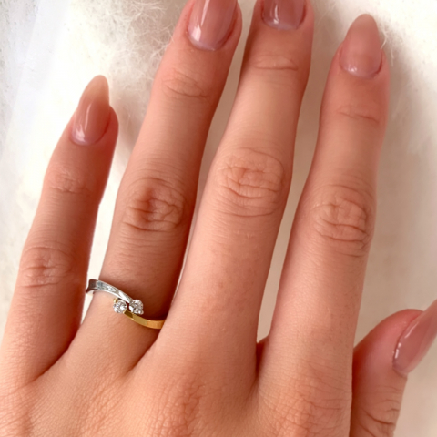 Fin ring i 9 karat guld og hvidguld