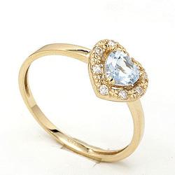 Smal hjerte topas ring i 9 karat guld
