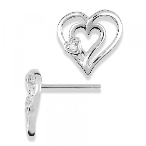 Hjerte ørestikker i 9 karat hvidguld med zirkoner